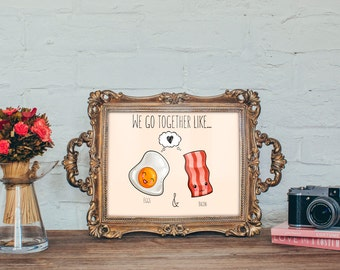 Eggs and Bacon Card INSTANT DOWNLOAD 5x7 Printable
