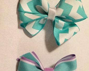 Teal and purple bows