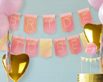 Bunting Only // Watercolor Bridal Shower Theme // Downloadable + Printable