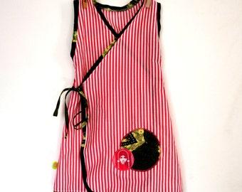 Kimono dress pink and white stripes (3 years)