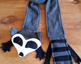 Raccoon fleece animal scarf