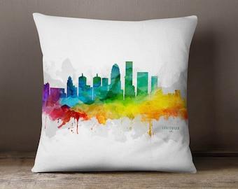 Louisville City Skyline Throw Pillow, 18x18, Louisville Cityscape, Louisville Pillow Case, Cushion, Gift Idea, MMR-USKYLO05PI