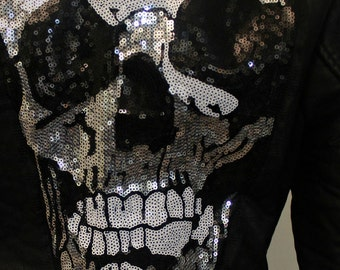 vegan sequin skull leather jacket [high quality]