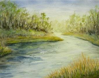 "Original Watercolor Landscape Painting-Spring River Greens-Running Water-Medium 11""x15"" Painting"