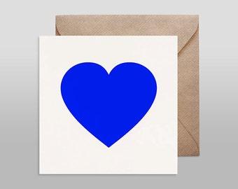 Screenprinted card HEART blue with kraft envelope