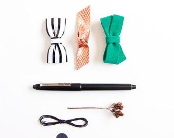 Art Deco Mini Leather Hair Bow Crocodile Clip or Nylon Headband,  Emerald Green, Copper, Black & White Stripes,LIttle Girl Bow, Baby Bow