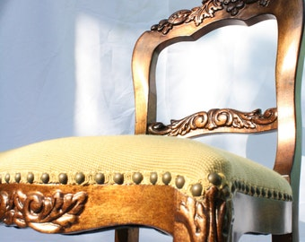 Custom Gold Leaf Carved Chair