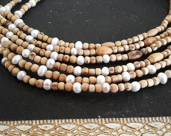 Tulasi Necklace with Fresh water pearls.