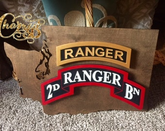 """Army Ranger 3D wall decor.  24"""" State with Tab, Scroll, DUI Crest.  All Customizable"""