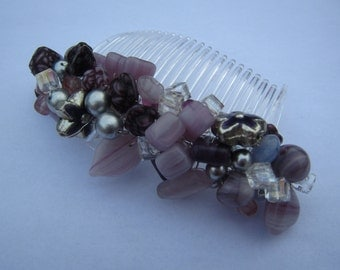 Mixed Purple Hair Comb with glass and metal beads