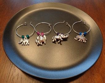 Elephant Wine Charms!! w/ Swarovski Crystal