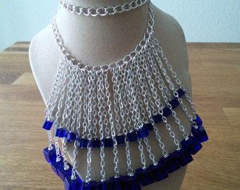 Blue glass bead fringe necklace