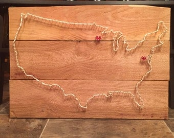 USA String Art with Hearts