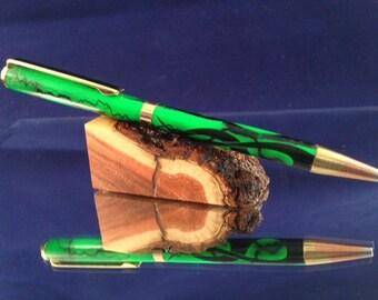 Custom Green Acrylic with Flames Twist Pen