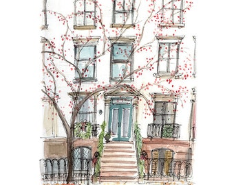 Beautiful Brooklyn Townhouse with Berry Tree Watercolor Print