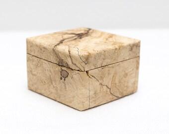 Keepsake Box, Ring Box, Small Storage Box, Diamond Shaped Wood Box, Neutral Colors, Spalted Maple, Natural Decor, Modern Style