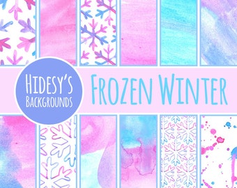 Watercolor Frozen Winter Digital Paper // Watercolor Digital Paper in Pink and Blue // Water Color Digital Paper Snowflake Cold Theme