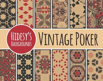 Playing Cards Digital Paper // Vintage Poker Cards // Grunge Ephemera Scrapbooking Paper// Digital Scrapbooking Paper