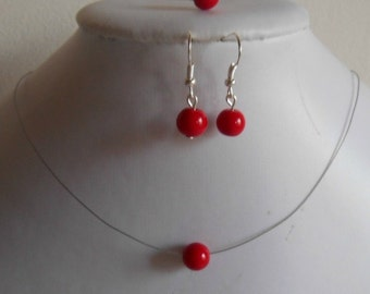 Ornament 3 parts marriage passion red solitary Pearl