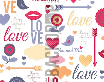 Large Photography Backdrop - Love Collage - 5'x5', 5'x6', 5'x7', 5'x10'