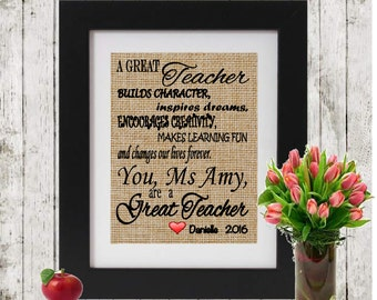 A Great Teacher - Personalized  Rustic Teacher Gift - Personalized with Teacher's Name and Student's Names - Personalized Teacher Gift