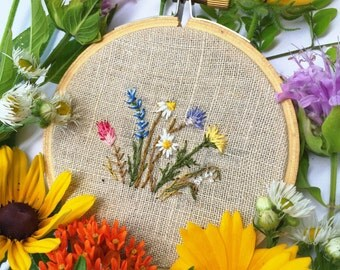 Floral embroidery 3 inch hand stitched hoop art