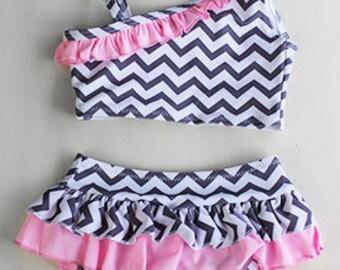 Chevron grey & pink swim suit
