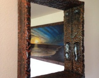 Custom Framed Mirrors - Rustic Wood Framed Mirror - Barnwood Framed Mirror - Reclaimed Wood Frame Mirror - Jackson Wyoming Furniture