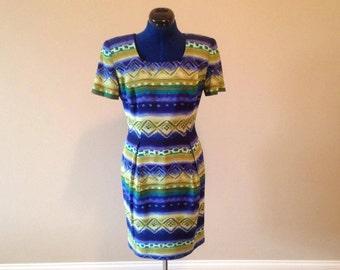80's Dress, Vintage Dress, Shoulder Pads, Tribal Print, Blue and Green Dress, Short Sleeves, Knee Length Dress, Square Neckline, Mod Dress
