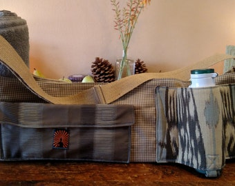 The Recycled Buddha, Hand Made, One of a Kind, Eco Conscious, Neutral Tone, Yoga Bag