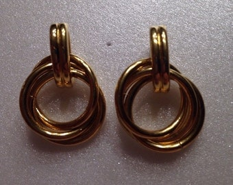 Gold Toned Chainlink Earrings, Gold Tone Earrings, Stud earrings