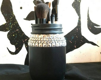 Painted Mason Jar, Mason Jar Decor, Centerpeices, Vanity Decor