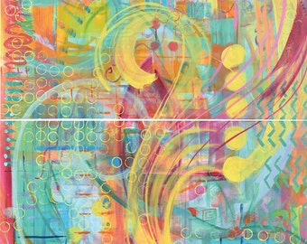 Abstract art, diptych, 48x36, bright, colorful, swirls, circles, turquoise, pink, yellow, blue, red, green