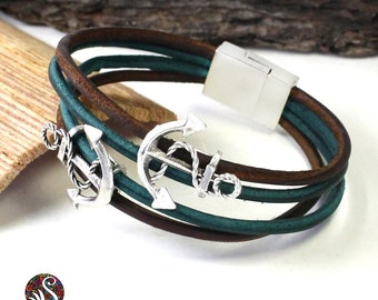 Genuine leather bracelet, Mens Leather bracelet, leather bracelet, leather Cuff bracelet, anchor bracelet, multilayer bracelet, mens gift