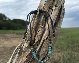 Teal Blue and Brass Adjustable Bracelet