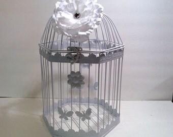 Decorative Birdcage, Large white birdcage, large  Bird Cage Wedding Card Holder, Shower Decor, Money Holder, Bird Cage Card Box
