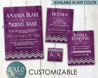 Plum or Eggplant Wedding Invitations - Chevron Invitation, plum, eggplant, navy