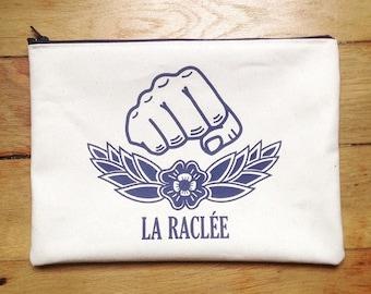 Unbleached organic cotton bag, blue print, artisan silkscreen, stitched hand, Paris 18th