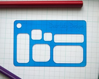 Rounded Rectangles stencil, Planner Stencil - 026 (Credit Card Size Stencil)