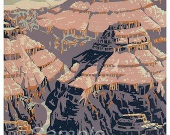 Vintage Grand Canyon America US Poster Print