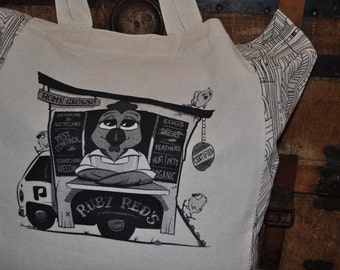 Permatees - Ruby Red's Chicken Tractor Permaculture Tote Bag, Shopping Bag, Reusable Grocery Bag, Farmer's Market Bag