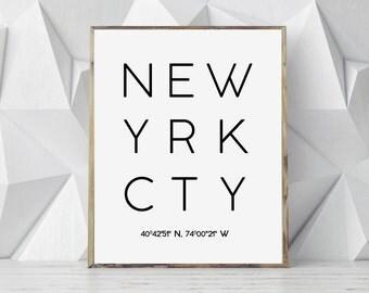 Printable  New York City, New York Coordinates, New York Print, NY City Poster, Typography Poster, Printable City Art, Modern Minimal Print,
