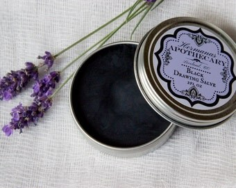 Black Drawing Salve - Lavender Scent - Draws out splinters, infection, foreign objects, blemishes - Hand made