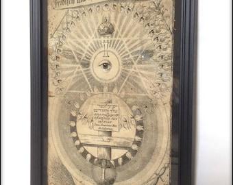 Mysterium - Magick alchemy symbolism aged print in frame.