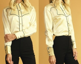 Lady Jagger 1970's Satin Tiger's Eye Snap Western Shirt