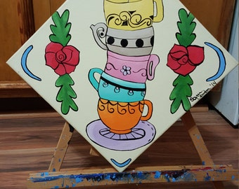 """Painting Titled """"Tower of Teacups"""""""
