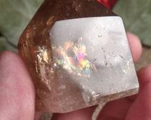 """Beautiful smoky citrine with rainbows! 124g 2""""x2"""" cp55"""
