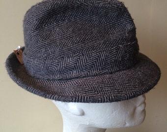 Wool tweed fedora