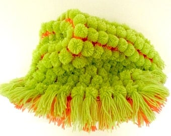 Handmade Knitted Pom Pom Baby Blanket