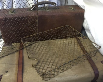 Industrial French Desk Tray organiser Shabby metal c1940s fab item practical storage solution